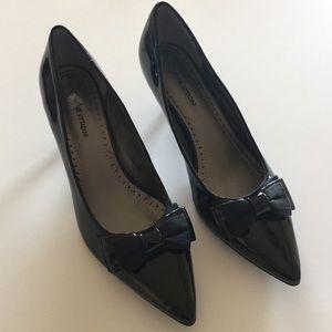 Adrienne Vittadini Patent Leather Bow Kitten Heels